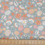 Benartex Cotton Fabric Cabana Seashell Life
