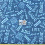 Western Print Cotton Fabric Cowboy Word Blue