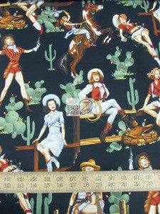 Western Print Cotton Fabric From The Hip Cowgirls