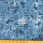 Western Print Cotton Fabric Puzzle Words