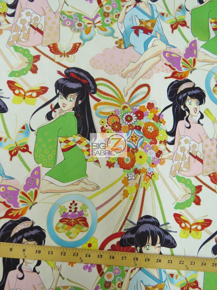 Alexander Henry Natural Miss Butterfly Cotton Fabric