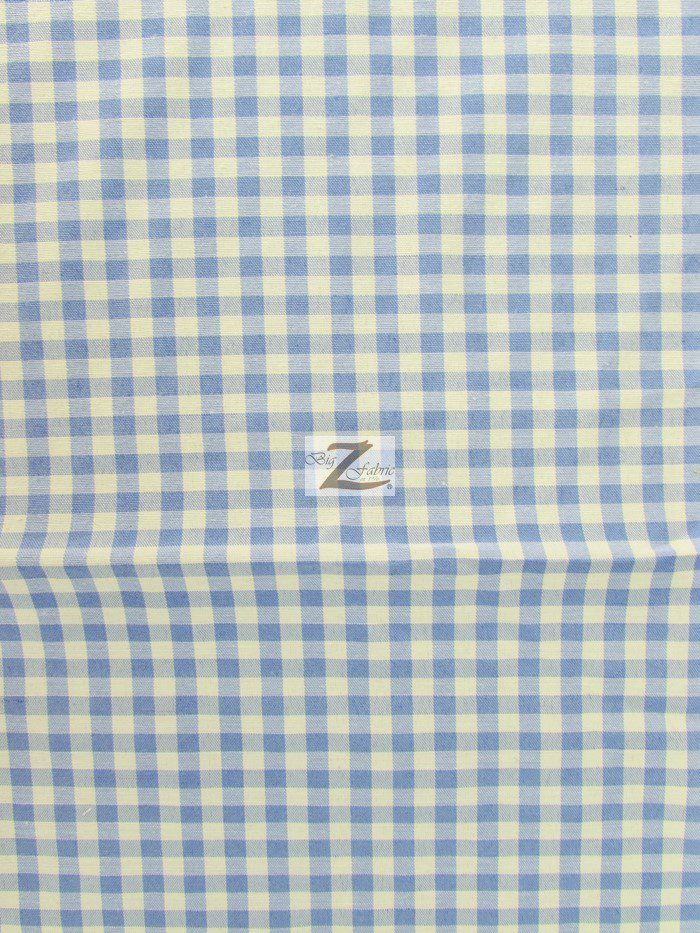 Blue Mini Checkered Gingham Poly Cotton Fabric