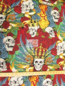 Skullduggery Royal Bright Cotton Fabric