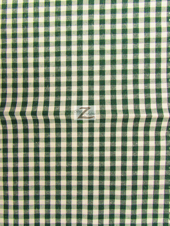 Hunter Green Mini Checkered Gingham Poly Cotton Fabric