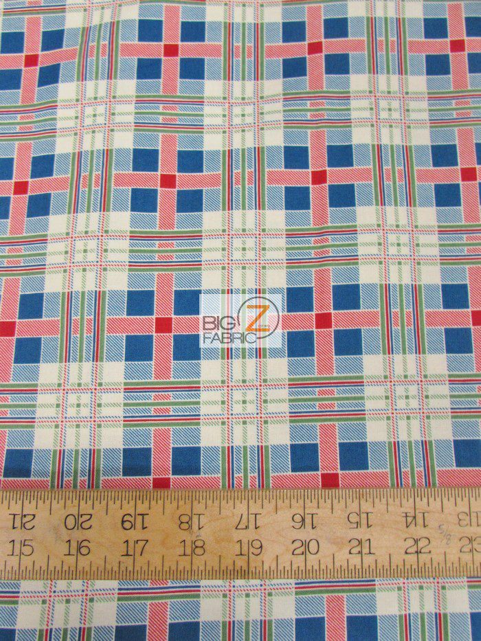 Fall Frolic Tartan Plaid Blue By Wilmington Prints Cotton Fabric