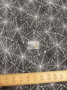 Black Spider Webs Cotton Fabric