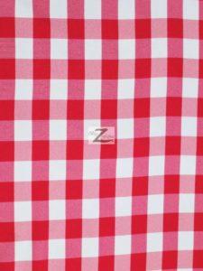 Checkered Gingham Poplin Fabric Fuchsia