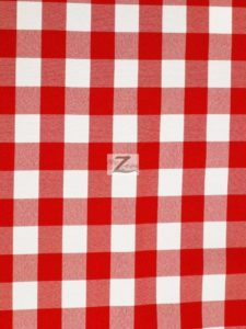 Checkered Gingham Poplin Fabric Red