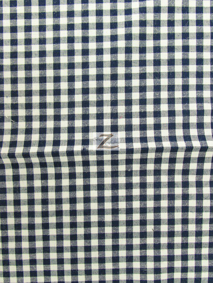 Navy Blue Mini Checkered Gingham Poly Cotton Fabric