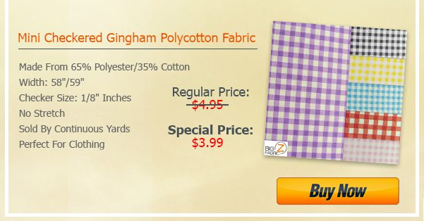 Steal Deal - Mini Checkered Gingham Poly Cotton Fabric