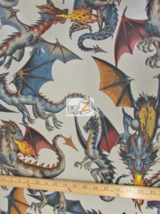 Tale Of The Dragon Gray Cotton Fabric
