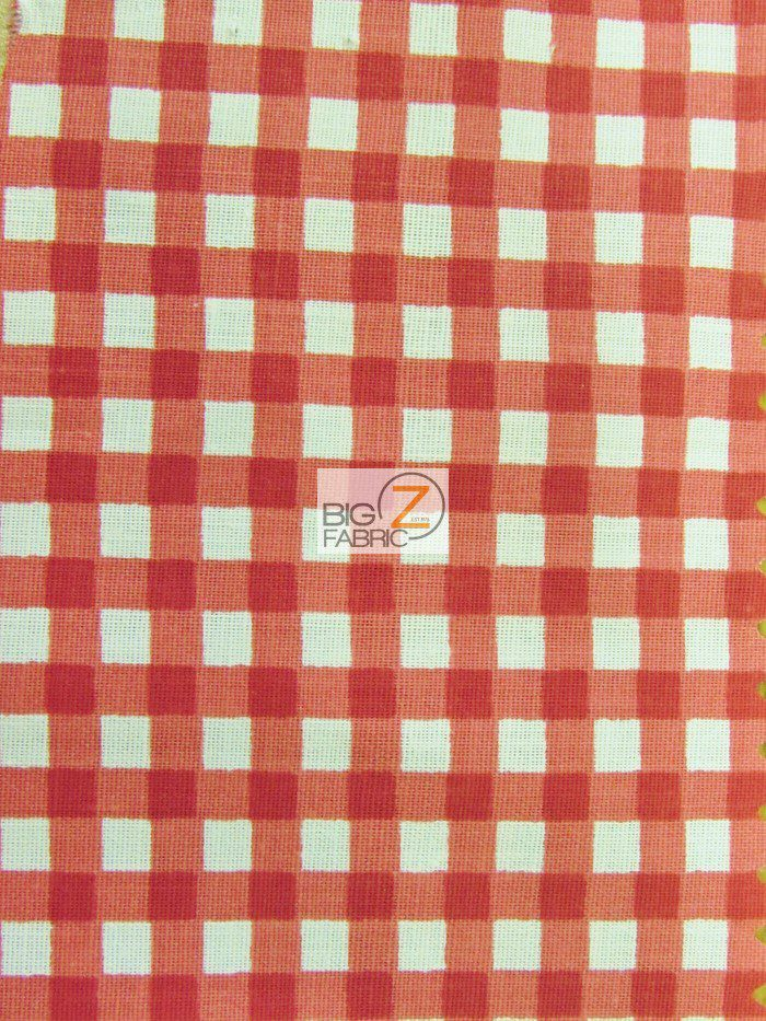 Red Mini Checkered Gingham Poly Cotton Fabric