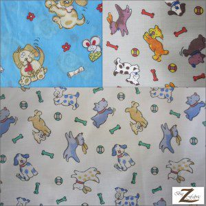 Poly Cotton Printed Fabric Animal Dog