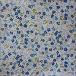 Mini Flower Poly Cotton Print Fabric Blue
