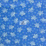 Floral Bandana Poly Cotton Fabric Blue