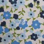 Plain Flower Print Poly Cotton Fabric Blue