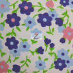 Plain Flower Print Poly Cotton Fabric Purple