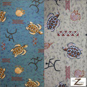 Turtle Print Poly Cotton Fabric