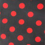 Big Polka Dot Poly Cotton Fabric Black Red