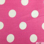 Big Polka Dot Poly Cotton Fabric Fuchsia White
