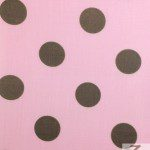 Big Polka Dot Poly Cotton Fabric Pink Brown