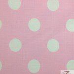 Big Polka Dot Poly Cotton Fabric Pink White