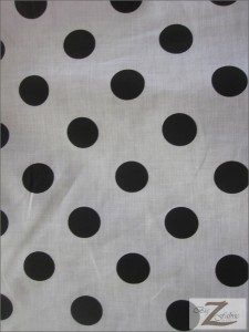 Big Polka Dot Poly Cotton Fabric White Black