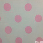 Big Polka Dot Poly Cotton Fabric White Light Pink
