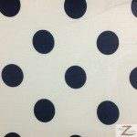 Big Polka Dot Poly Cotton Fabric White Navy