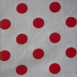 Big Polka Dot Poly Cotton Fabric White Red