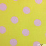 Big Polka Dot Poly Cotton Fabric Yellow Pink