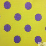 Big Polka Dot Poly Cotton Fabric Yellow Purple