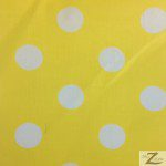 Big Polka Dot Poly Cotton Fabric Yellow White