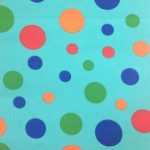 Colored Polka Dot Poly Cotton Fabric Aqua Mix