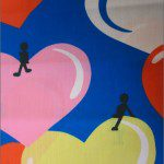 Love Dotted Hearts Poly Cotton Printed Fabric Floating Blue