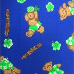 Teddy Bear Print Poly Cotton Fabric Camping Blue
