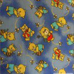 Teddy Bear Print Poly Cotton Fabric Fun Blue