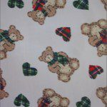 Teddy Bear Print Poly Cotton Fabric Hearts Green Red