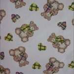Teddy Bear Print Poly Cotton Fabric Hearts Yellow