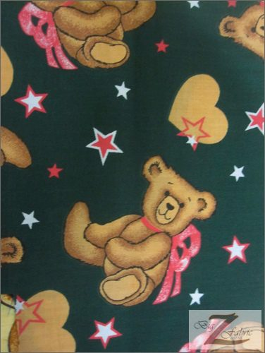 "FABRIC SWEET TEDDY BEAR PARTY PICNIC PRINT POLYCOTTON BLEND 50 X 145CM//20*58/"""