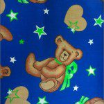 Teddy Bear Print Poly Cotton Fabric Star Blue