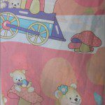 Teddy Bear Print Poly Cotton Fabric Train Light Pink