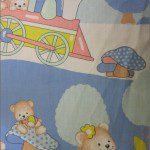 Teddy Bear Print Poly Cotton Fabric Train Sky Blue
