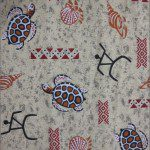 Turtle Print Poly Cotton Fabric Sand