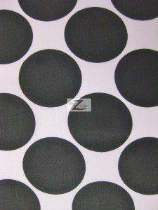 Giant Polka Dot Poly Cotton Fabric Black