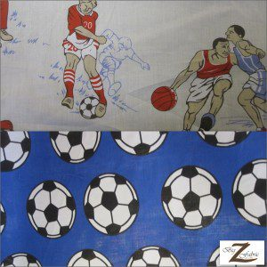 Sports Print Poly Cotton Fabric