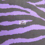 Zebra Print Poly Cotton Fabric Purple