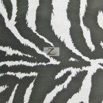 Zebra Print Poly Cotton Fabric White