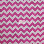 "1/2"" Zig Zag Chevron Poly Cotton Fabric Fuchsia White"
