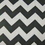 1″ Zig Zag Chevron Poly Cotton Fabric Black